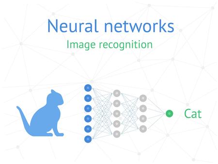Neural networks, deep learning. Image recognition. Vector illustration.