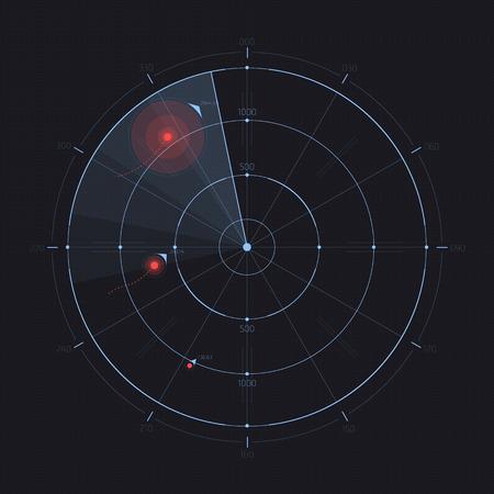 Vector radarscherm. Futuristische HUD-radarweergave. Sci-FI ontwerpelement op achtergrond wordt geïsoleerd die. Militaire luchtscan. Onderzeeër navy-zoekopdracht. System blip. Vector illustratie van navigatie-interface. Stock Illustratie