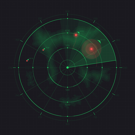 Vector radar screen. Futuristic HUD radar display. Sci-fi design element isolated on background. Military air scan. Submarine navy search. System blip. Vector illustration of navigation interface.