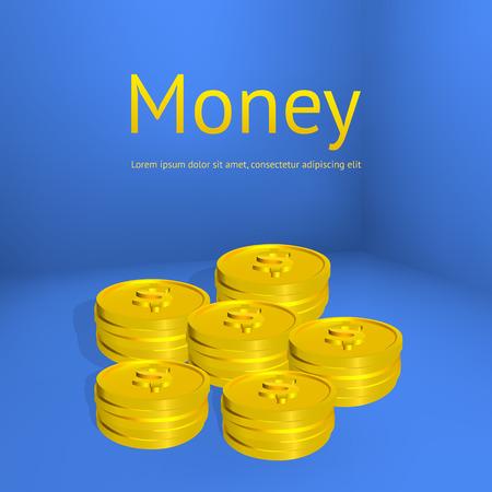 Stacks of gold coins on blue background. Business template for design. Vector illustration. Illustration
