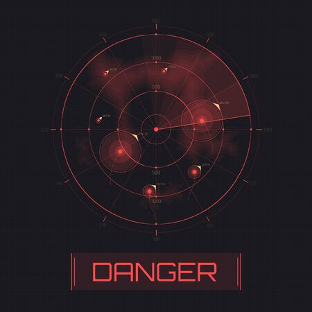 Vector Radar screen. Text with warning message danger. Attack warning. Futuristic HUD radar display. Sci-fi design element isolated on background. Military air scan. Submarine navy search. Illustration