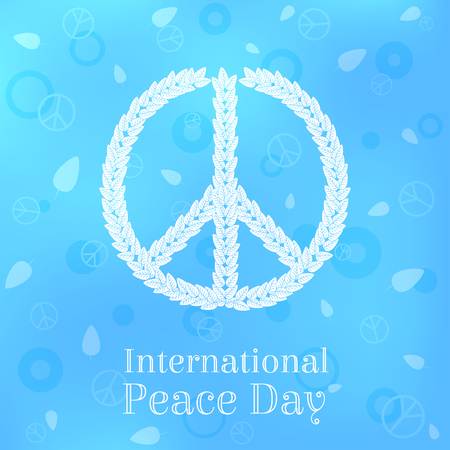 International Peace Day Greeting Card, Poster, Background. Vector Illustration of Peace Sign Made of Leaves on Blue Background. Illustration
