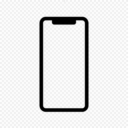 Vector Outline Icon of Phone. Isolated on Transparent Light Background. Mobile, Smartphone, Phone. Front View. Vector Illustration.