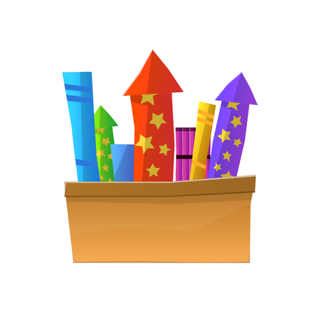Cartoon Fireworks in Box Isolated on White Background. Full Box of Bright Pyrotechnics.