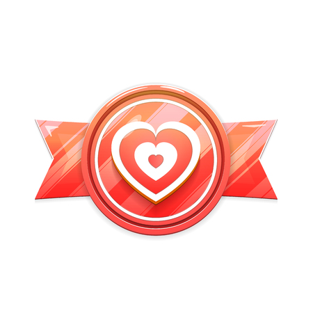 Banner, Badge Isolated on White Background. Heart Sign on Ribbon. Vector Illustration in Red Colors. Vector Design Element for Valentines Day, Wedding and More.  イラスト・ベクター素材