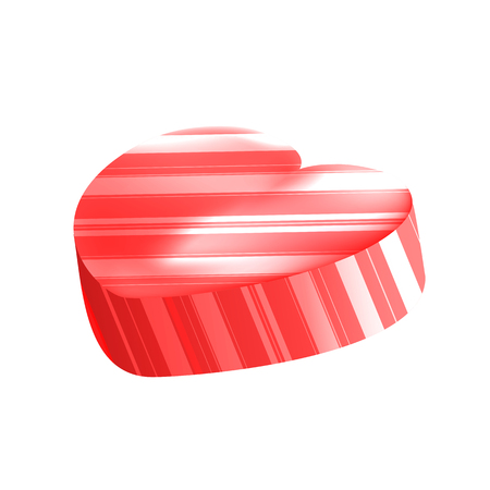 Vector Realistic Heart Lollipop with Stripes Isolated on White Background. Love Symbol. Valentines Day Symbol. Vector Illustration of Red Sweet Candy.