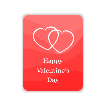 Happy Valentines Day Card. Gift, Greeting Banner in Red and White Colors. Flat Vector Illustration.