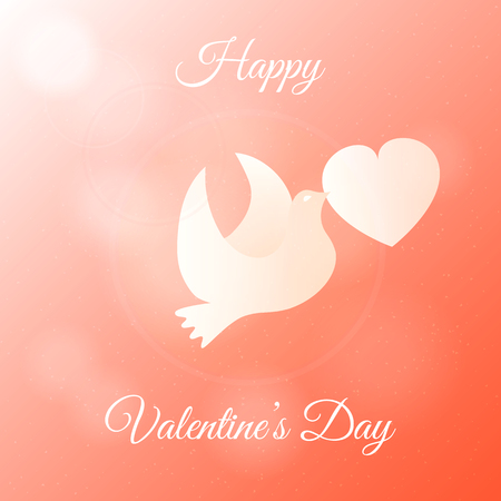 Happy Valentines Day Banner. Gift, Greeting Card with Dove and Heart in Sky. Flat Vector Illustration.  イラスト・ベクター素材
