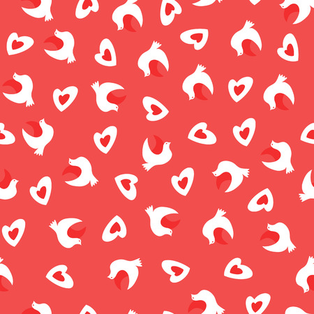 Vector Seamless Pattern with Doves and Heats. Valentines Day Pattern. Vector Illustration in Flat Style.