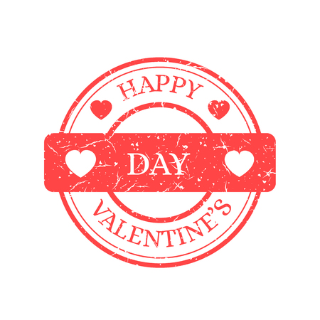 Happy Valentines Day Vector Stamp Isolated on Light Background. Red Sign with Text and Heats. Vector Illustration of Grunge Rubber Stamp.  イラスト・ベクター素材
