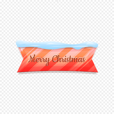 Merry Christmas. Vector Festive Banner Isolated on White Background. Colorful Banner with Snow on Top. Ribbon Colorful Sign with Lines. Web Icon. Creative Vector Illustration.  イラスト・ベクター素材