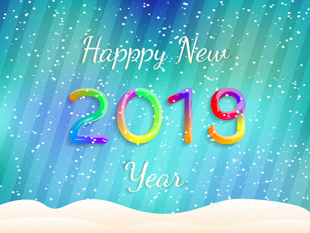 Happy New Year 2019. Abstract Festive Background. Colorful Gradient Text with Snow. Vector Poster, Banner, Greeting Card. Vector Illustration.  イラスト・ベクター素材