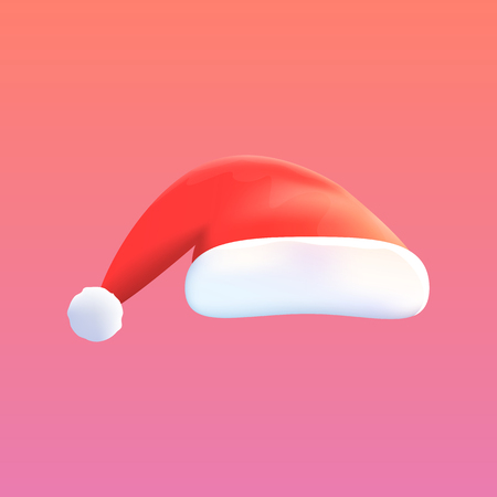Vector Red Hat of Santa Claus Isolated on Background. Mock-up for Banners, Posters, Cards etc. Design Object. Vector Illustration.  イラスト・ベクター素材