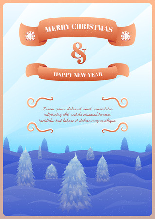 Christmas Vector Greeting Card. Vector Template for Your Congratulations. Merry Christmas and Happy New Year Text on Ribbons. Festive Background with Winter Landscape with Fir Trees and Snow.