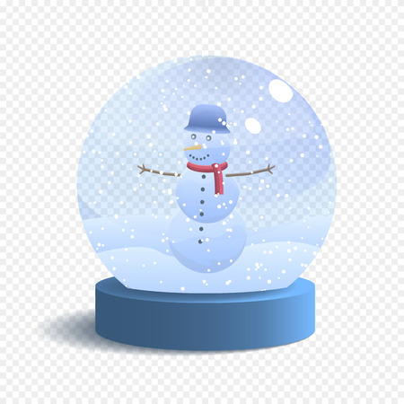 Vector Snow Globe Isolated on White Background. Realistic Glass Sphere with Falling Snow and Snowman. Vector Festive Illustration.  イラスト・ベクター素材