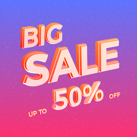 Bright Sale Vector Banner. Colorful Advertisement Background with 3D Text. Vector Illustration.  イラスト・ベクター素材