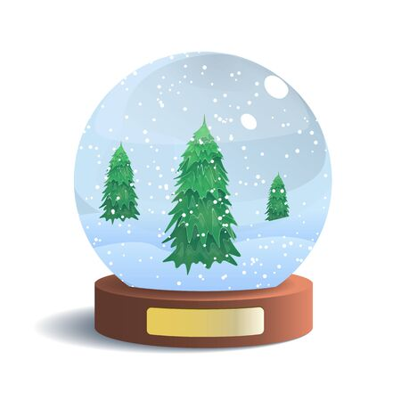 Vector Snow Globe with Metal Badge Isolated on White Background. Vector Illustration of Glass Sphere with Shadow. Realistic Ball with Snow and Fir Trees Inside. New Year and Christmas Gift. 스톡 콘텐츠 - 134232191