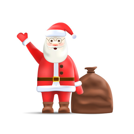 Santa Claus with Sack Isolated on Background. Big Santa Sack with Gifts. Christmas Character. Vector Illustration.