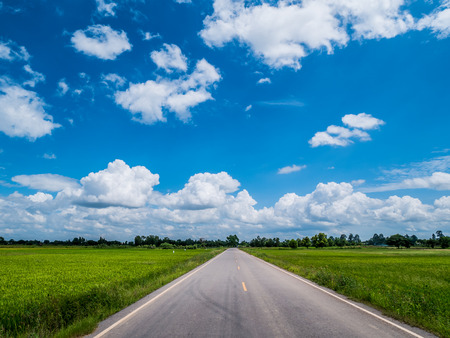 drive through: Empty country road through the agricultural fields in the morning with beautiful blue sky cloudy. Phitsanulok, Thailand. Stock Photo
