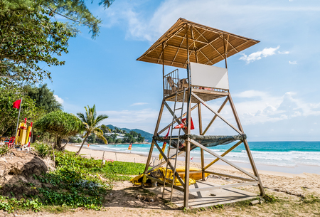 Simple design of lifeguard station on cloudy blue sky and Andaman sea in background, world famous travel location ,Surin beach ,Phuket ,Thailand. Stock Photo