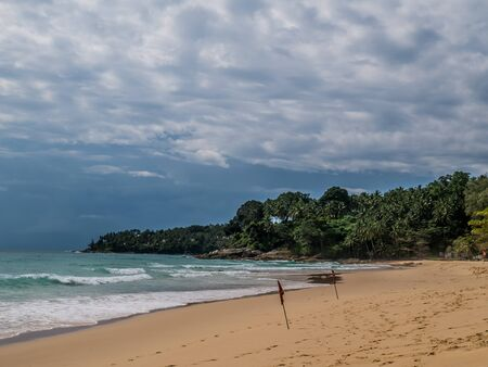 Surin beach monsoon season. Blue sky with white clouds beautiful clear natural background. Phuket ,Thailand.