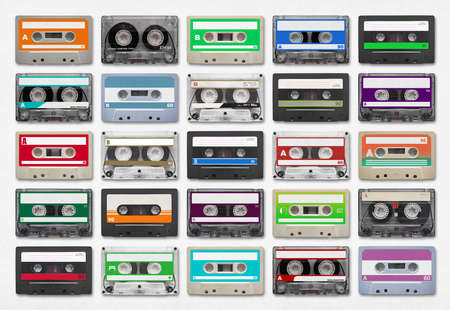 9 audio cassettes isolated on white background.