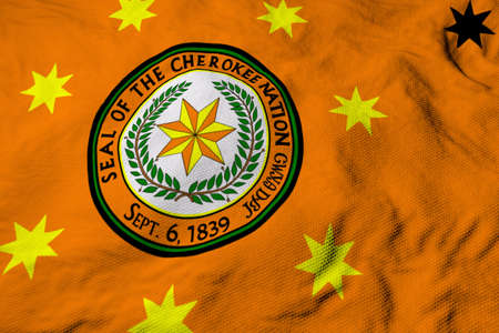 Full frame close-up on a waving a Cherokee Nation flag in 3D rendering.