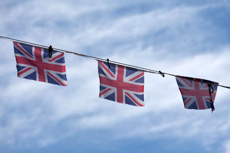 Red, white and blue british flag bunting to celebrate the VE Day.