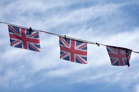 红色,白色和蓝色的英国国旗庆祝胜利日。