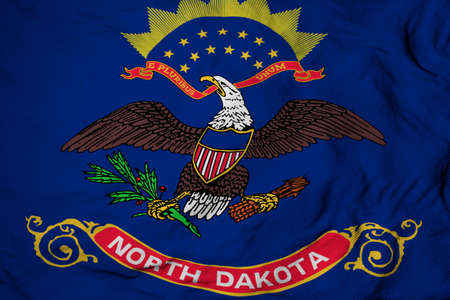 Full frame close-up on a waving flag of North Dakota (USA) in 3D rendering. Imagens