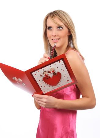 Girl with Valentines card