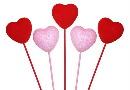 Five love hearts Stock Photo