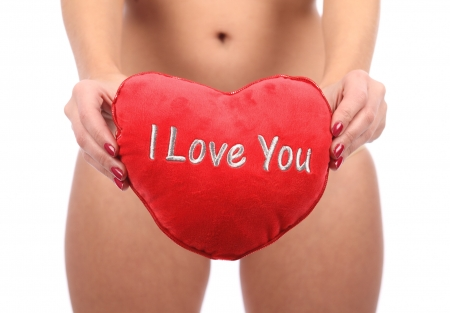 Woman with red valentines heart photo