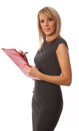 Business woman with red folder