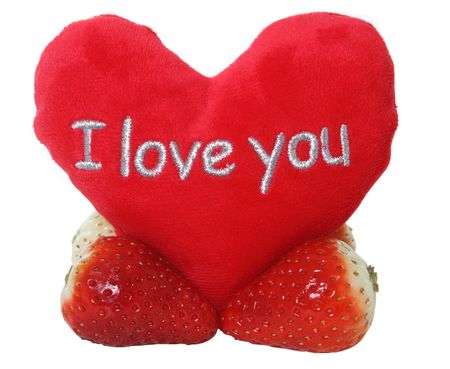 Love you with strawberries Stock Photo
