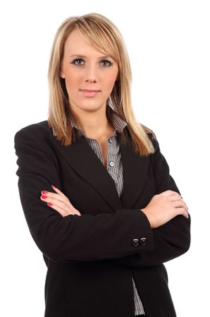 Business woman with arms folded looking at camera Stock Photo