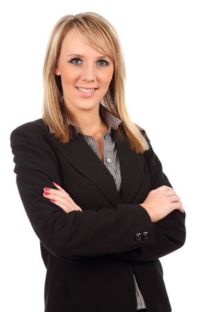 folding: Business woman with arms folded looking at camera Stock Photo