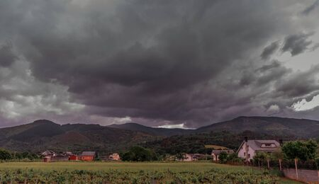 The storm is coming. Hurricane. Earth and sky. Urban landscape Village landscape in Spain