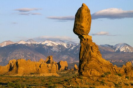 Early morning view of Balanced Rock in Arches National Park near Moab, Utah.