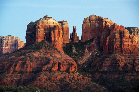Late afternoon sunlight on Cathedral Rock near Sedona, Arizona