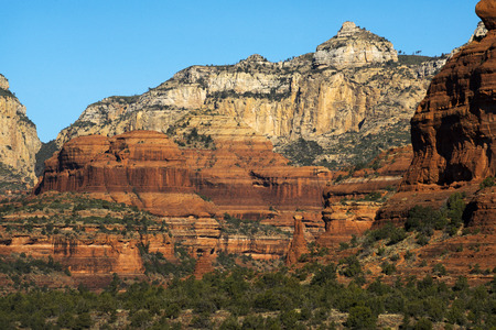 Late afternoon image of sandstone rock formations Red Rock-Secret Mountain Wilderness Area near Sedona, Arizona