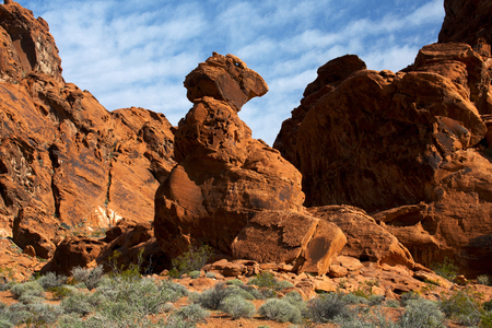 View of Balanced Rock from scenic Valley of Fire State Park near Las Vegas, Nevada