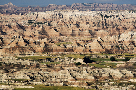 Late afternoon view from Badlands National Park in South Dakota