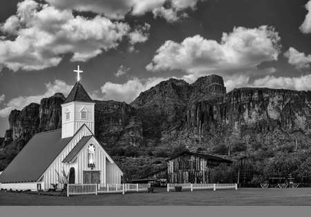 Chapel and Superstition Mountain near Apache Junction, Arizona.