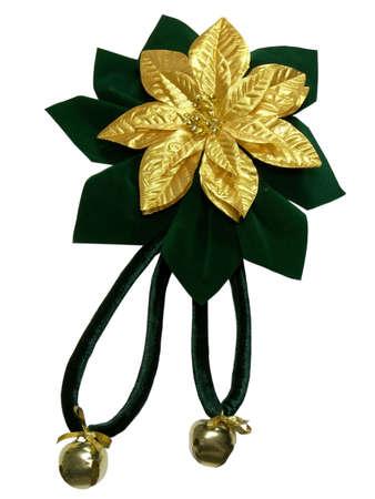 Poinsettia Velvet bow with bells