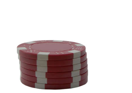 Photo of a stack of red poker chips isolated on a white background Stock Photo