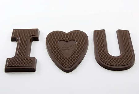i love u: Photo de I love U faite de chocolat Banque d'images