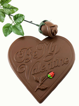 Photo of a heart shape made of chocolate that says