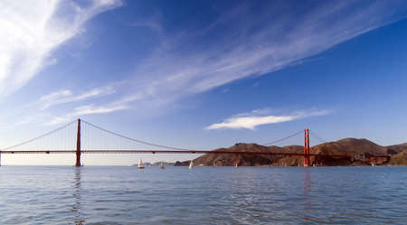 Photo of the golden gate bridge taken from a boat in the bay