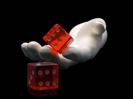 Photo of a hand rolling dice isolated on a black background Stock Photo - 728518